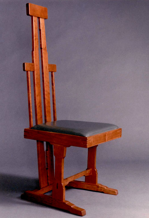 dining chair in cherry and leather