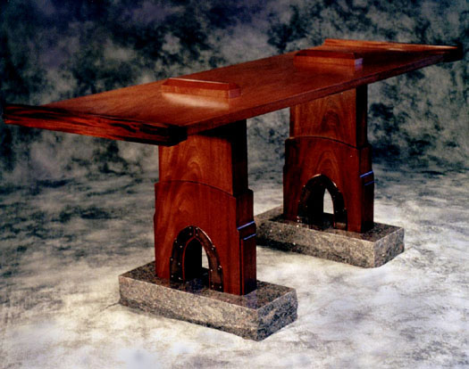 Mahogany side table with granite feet