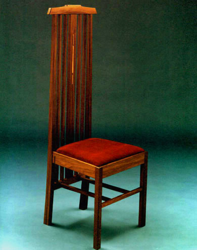 walunt hall chair with copper inlay